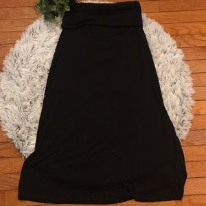 Petite maxi skirt with fold over waist band